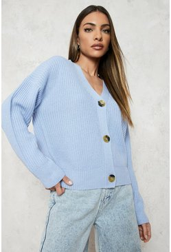 Blue Fisherman V Neck Cardigan