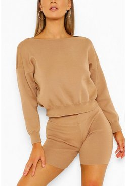 Camel beige Jumper And Cycling Shorts Knitted Lounge Set