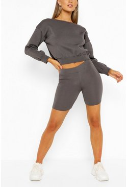 Grey Jumper And Cycling Shorts Knitted Lounge Set
