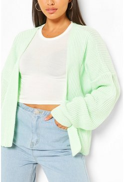 Mint green Oversized Rib Crop Cardigan
