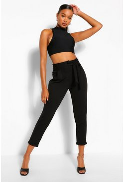 Black Tailored Belted Trouser