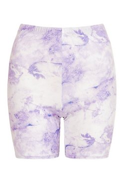 Lilac High Waist Marble Print Cycling Shorts