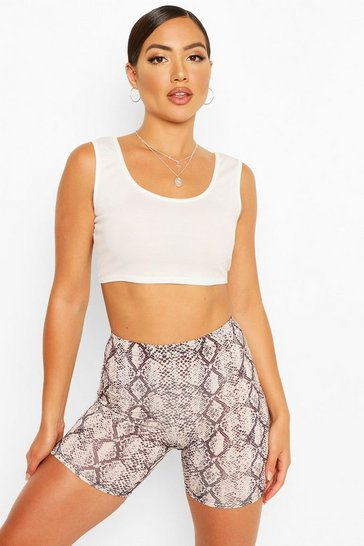 Grey High Waist Snake Print Cycling Shorts