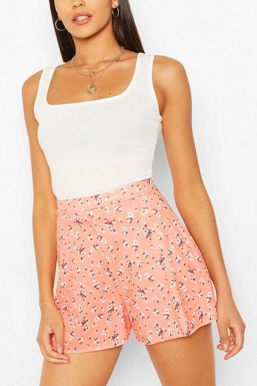 Coral Ditsy Floral Print High Waist Flippy Shorts