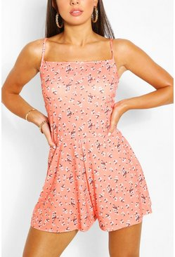 Coral pink Ditsy Floral Print Strappy Swing Romper