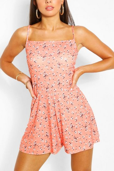 Coral pink Ditsy Floral Print Strappy Swing Playsuit