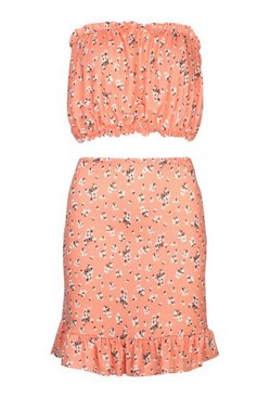 Coral Ditsy Floral Print Ruffle Bandeau And Skirt Co-ord