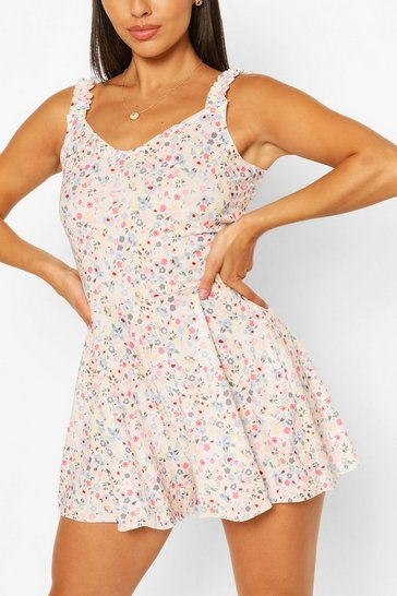 Pink Ditsy Print Frill Strap Swing Playsuit