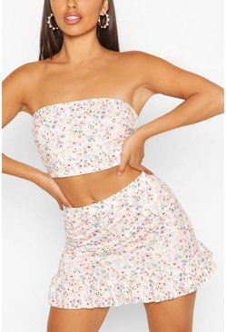 Pink Ditsy Print Bandeau And Frill Hem Skirt Two-Piece Set