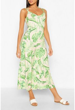 Blush Palm Print Cross Back Wide Culotte Leg Jumpsuit