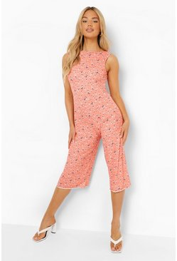 Orange Floral Print Scoop Back Culotte Jumpsuit