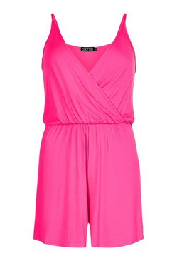 Magenta Basic Wrap Over Cami Playsuit