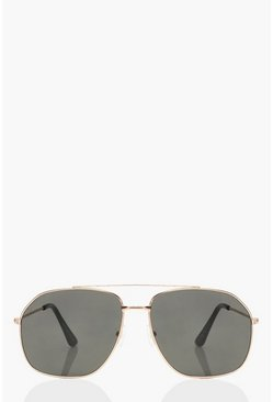 Black Lens Aviator Sunglasses