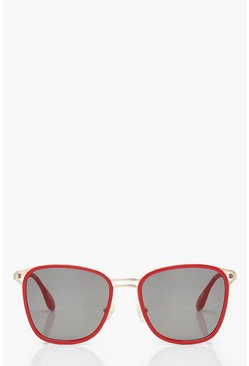 Red Frame Oversized Sunglasses