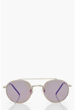 Pink Rose Gold Tinted Round Aviator Sunglasses