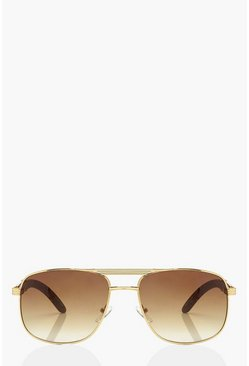 Gold Frame Detail Aviator Sunglasses