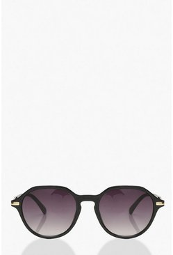 Black Oversized Arm Detail Sunglasses