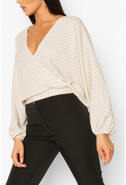 Stone Long Sleeve Wrap Top