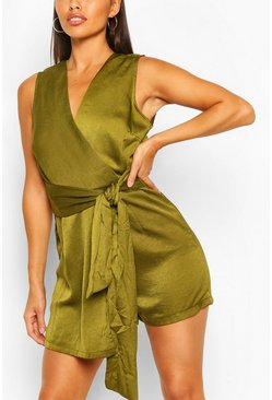 Olive V-Neck Wrap Tie Playsuit