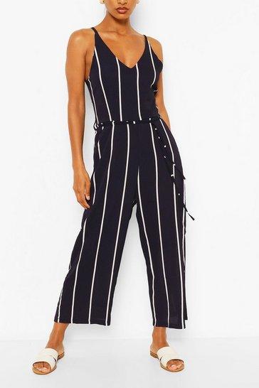 Navy Striped Jumpsuit
