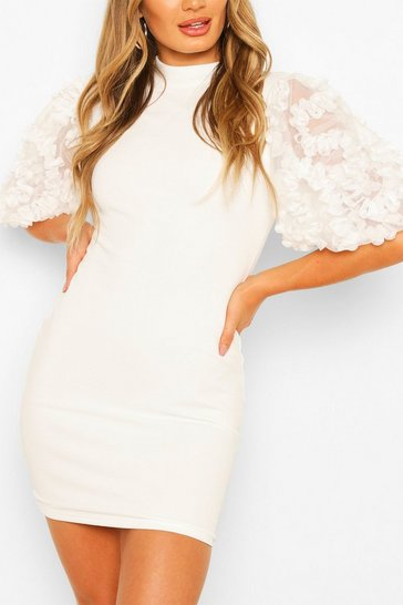 Cream white Lace Sleeve Mini Bodycon Dress