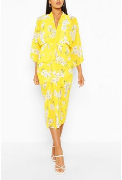 Yellow Long Sleeve Maxi Dress