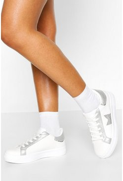 Silver Lace Up Platform Trainers