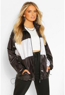 Black High Shine Panelled Windbreaker