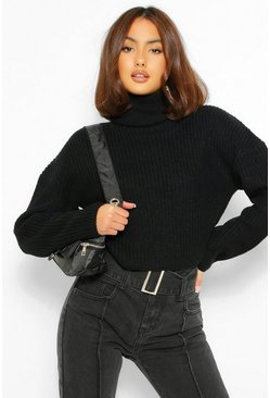 Black Slouchy Chunky Knit Crop Jumper