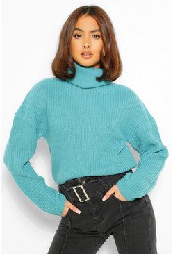 Teal green Slouchy Chunky Knit Crop Jumper
