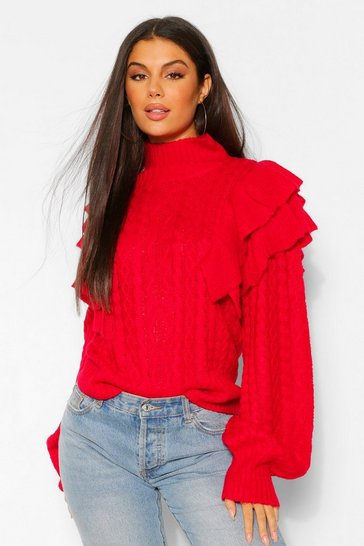 Berry red High Neck Ruffle Shoulder Jumper
