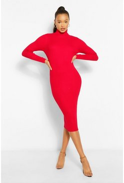 Berry red Roll Neck Rib Knit Midi Dress