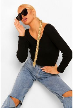 Black V Neck Rib Knit Jumper