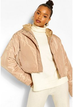 Beige Cropped Panelled Hooded Puffer