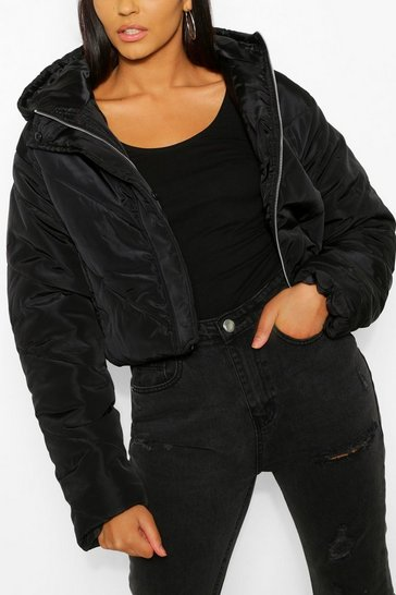 Black Cropped Panelled Hooded Puffer