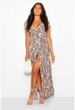 Black Plunge Front Floral Tie Maxi Dress