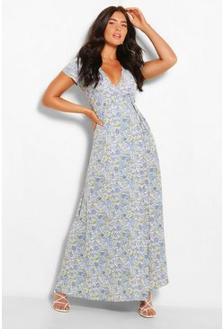 Blue Plunge Front Floral Tie Maxi Dress