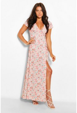 Blush pink Plunge Front Floral Tie Maxi Dress