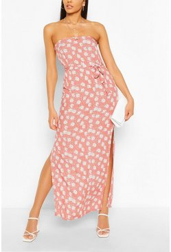 Pink Bandeau Floral Mix Print Belted Maxi Dress