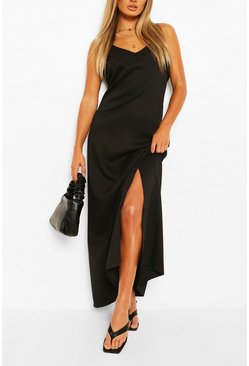 Black Plunge Back Strappy Maxi Dress