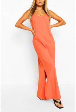 Orange Plunge Back Strappy Maxi Dress