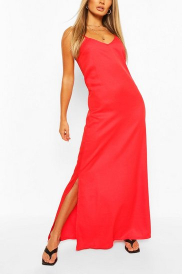 Red Plunge Back Strappy Maxi Dress
