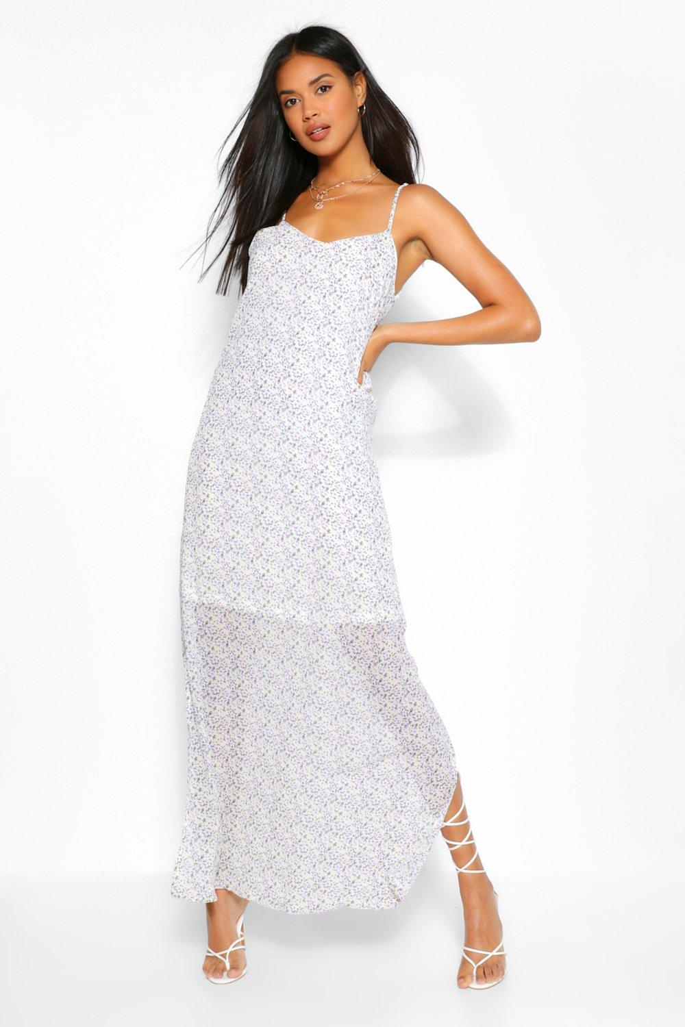 Plunge Back Strappy Ditsy Floral Maxi Dress