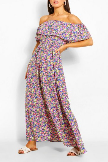 Blue Off The Shoulder Floral Maxi Dress