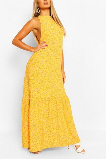 Mustard yellow High Neck Tiered Hem Ditsy Maxi Dress