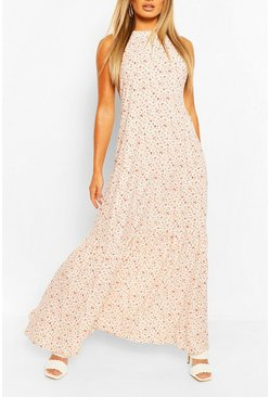 White High Neck Tiered Hem Ditsy Maxi Dress