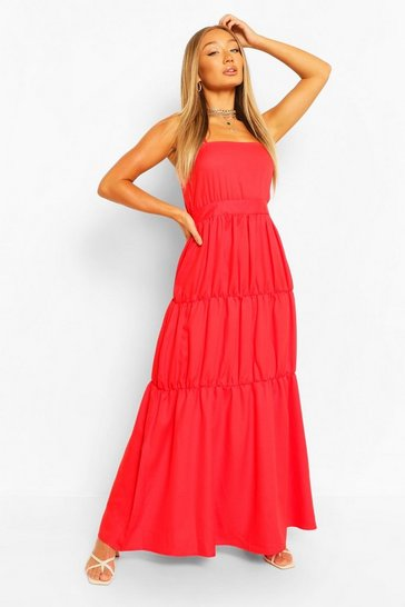 Red Tiered Strappy Maxi Dress