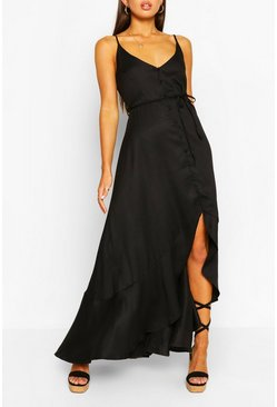 Black Frill Drop Hem Belted Maxi Dress
