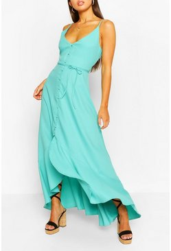 Teal green Frill Drop Hem Belted Maxi Dress