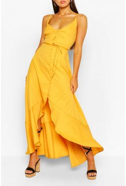 Yellow Frill Drop Hem Belted Maxi Dress